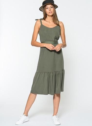 Loves You Askılı Eteği Volanlı Tensel Elbise Haki